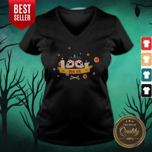 Dia De Muertos Sugar Skulls Happy Mexico Holiday V-neck
