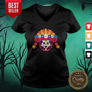 Skeleton Woman Day Of The Dead Muertos V-neck
