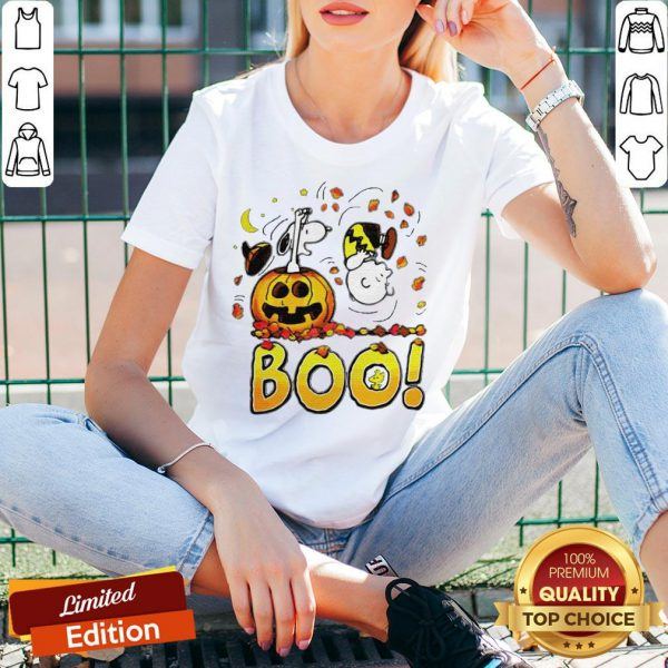 Charlie Brown Woodstock And Snoopy Boo Happy Halloween V-neck