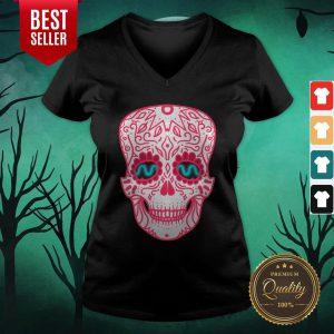 Pink Sugar Skull Day Of The Dead Muertos V-neck