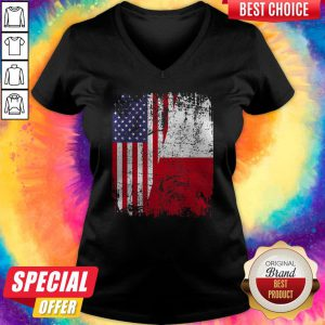 Official American And Poland Flag V-neck