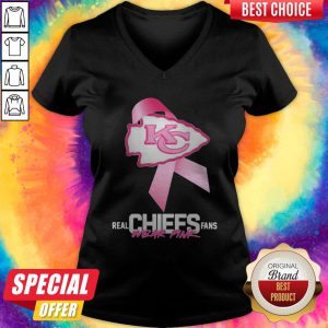 Kansas City Chiefs Real Chiefs Fans Wear Pink Breast Cancer V-neck