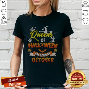 Queen Of Halloween Are Born In October Halloween V-neck
