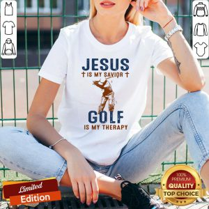 Nice Jesus Is My Savior Golf Is My Therapy V-neck