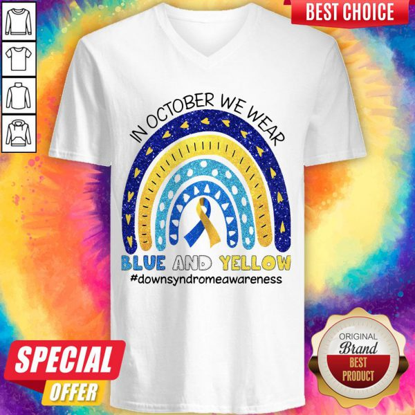 In October We Wear Blue And Yellow Downsyndrwareness V-neck
