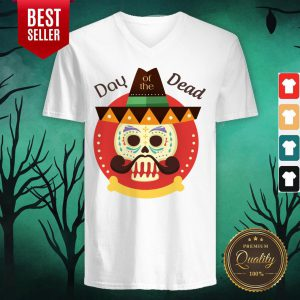 Day Of The Dead Sugar Skull In Mexican Holiday V-neck