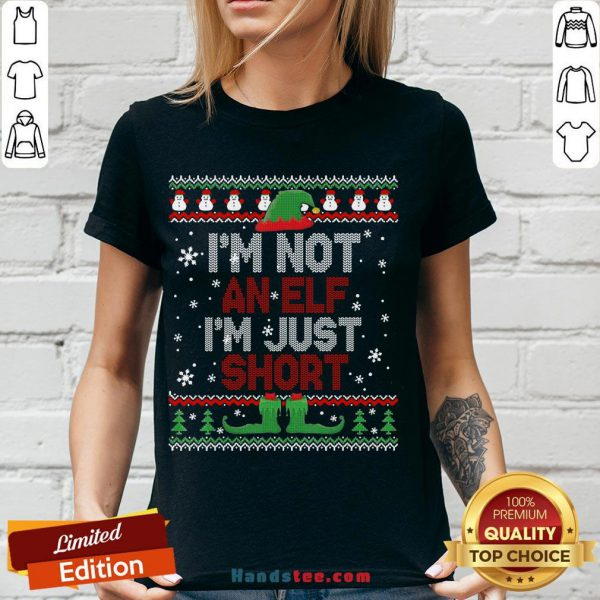 Awesome I'm Not An Elf I'm Just Short Funny Christmas Gift Ugly V-neck-Design By Handstee.com
