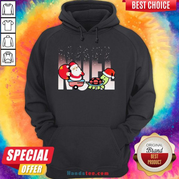 Awesome Merry Christmas Santa Claus Riding Turtle Hoodie- Design By Handstee.com
