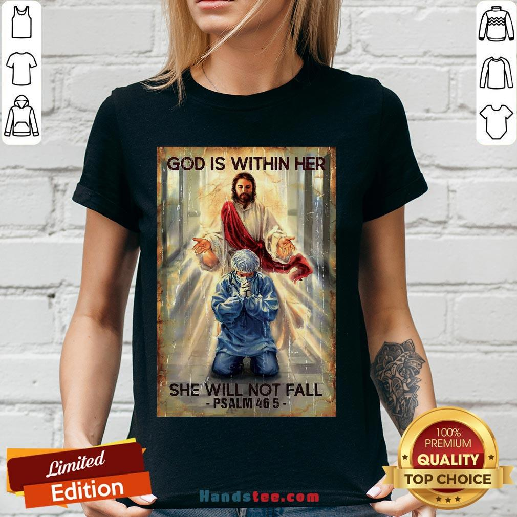 Happy God Is Within Her She Will Not Fall Psalm 46 5 V-neck- Design By Handstee.com