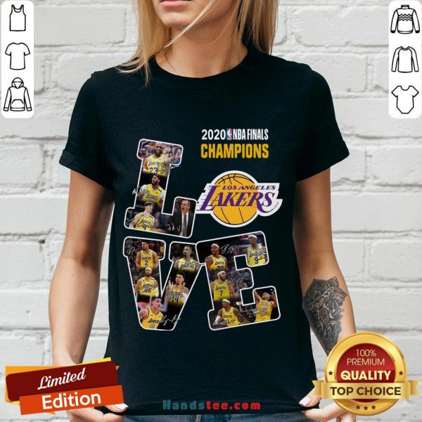 Happy Love Los Angeles Lakers 2020 Nba Finals Champions Signatures V-neck- Design By Handstee.com
