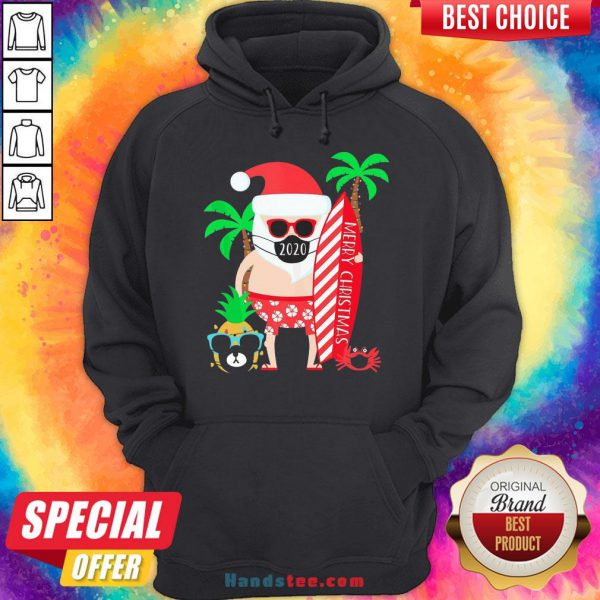 Happy Merry Christmas Surfing Santa With Mask Hoodie- Design By Handstee.com