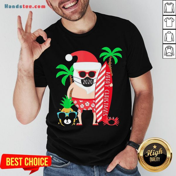 Happy Merry Christmas Surfing Santa With Mask Shirt- Design By Handstee.com