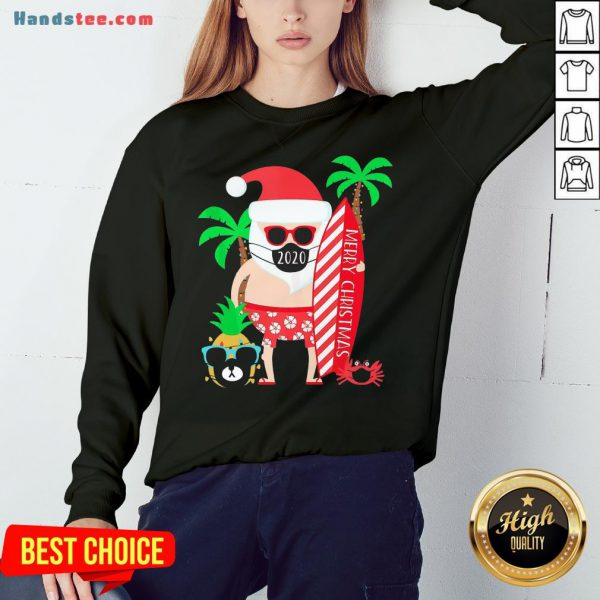 Happy Merry Christmas Surfing Santa With Mask Sweatshirt- Design By Handstee.com