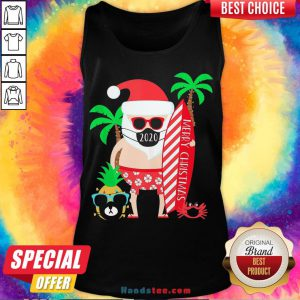 Happy Merry Christmas Surfing Santa With Mask Tank Top- Design By Handstee.com