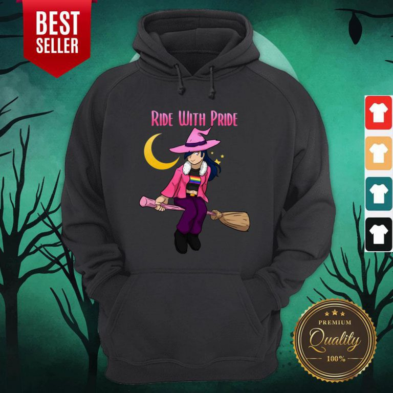Ride With Pride LGBT Witch Funny Lesbian Halloween Hoodie