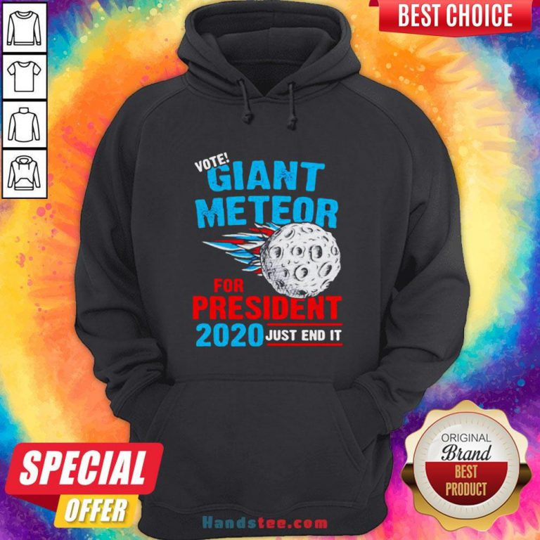 Vote Giant Meteor For President 2020 Just End It Hoodie