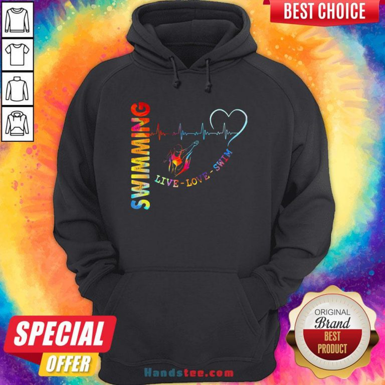 Colorful Swimming Live Love Swin Heart Beat Hoodie - Design By Handstee.com