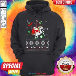 Colorful Santa Unicorn Ugly Christmas Hoodie - Design By Handstee.com