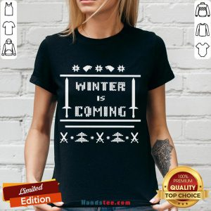 Nice Winter Is Coming Ugly Christmas V-neck- Design By Handstee.com