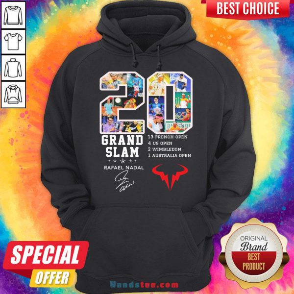 Official 20 Grand Slam Rafael Nadal 13 French Open 4 Us Open 2 Wimbledon 1 Australia Open Signature Hoodie-Design By Handstee.com