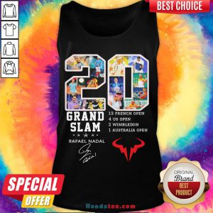 Official 20 Grand Slam Rafael Nadal 13 French Open 4 Us Open 2 Wimbledon 1 Australia Open Signature Tank Top-Design By Handstee.com