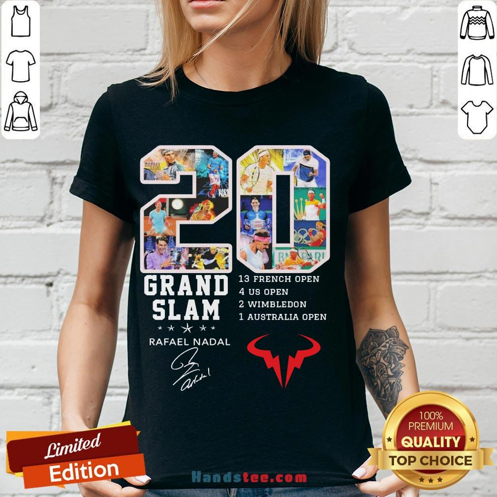 Official 20 Grand Slam Rafael Nadal 13 French Open 4 Us Open 2 Wimbledon 1 Australia Open Signature V-neck-Design By Handstee.com