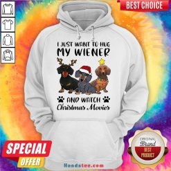 Perfect Dachshund Reindeer I Just Want To Hug My Wiener And Watch Christmas Movies Hoodie- Design By Handstee.com