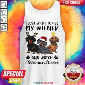 Perfect Dachshund Reindeer I Just Want To Hug My Wiener And Watch Christmas Movies Tank Top- Design By Handstee.com