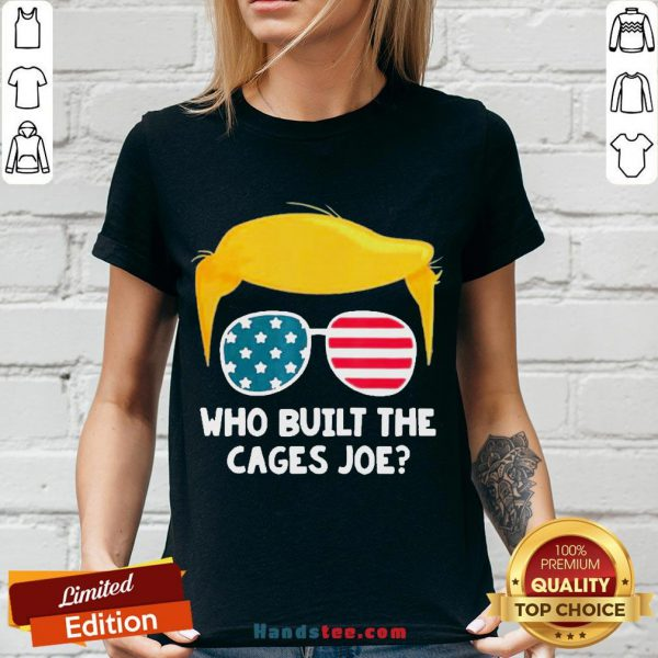Perfect Who Built The Cages Joe Donald Trump Sunglasses American Flag V-neck- Design By Handstee.com
