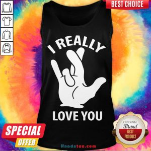 Premium I Really Love You Sign In American Sign Language ASL Tank Top- Design By Handstee.com