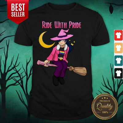 Ride With Pride LGBT Witch Funny Lesbian Halloween Shirt