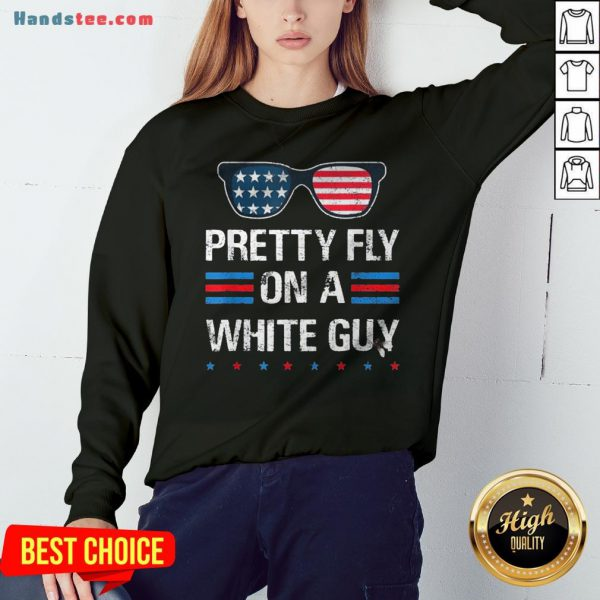 Nice Glasses Pretty Fly On A White Guy Sweatshirt - Design By Handstee.com