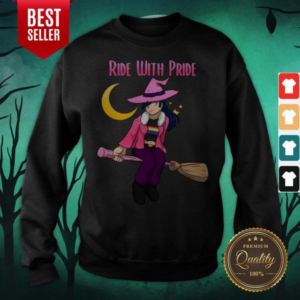 Ride With Pride LGBT Witch Funny Lesbian Halloween Sweatshirt