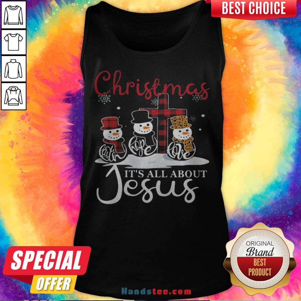 Pretty Snowman Christmas It's All About Jesus Tank Top - Design By Handstee.com