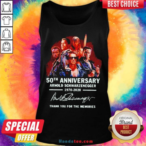 Arnold Schwarzenegger 50th Anniversary Thank You For The Memories Tank Top - Design By Handstee.com