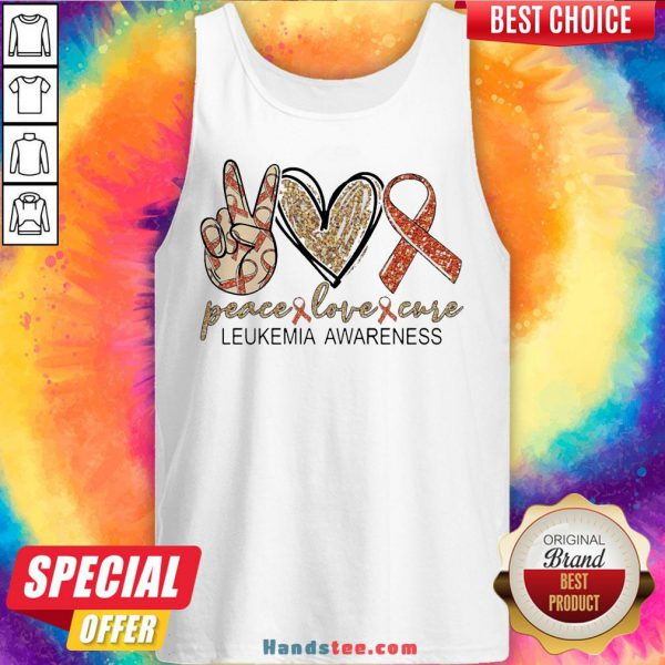 Peace Love Cure Leukemia Awareness Diamond Tank Top - Design By Handstee.com