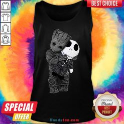 Cute Baby Groot Hug Jack Skellington Tank Top - Design by Handstee.com