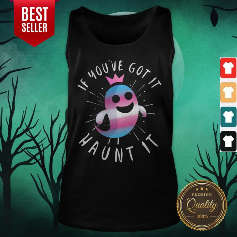 Cute Transgender Ghost Funny Halloween Pun Trans Pride Quote Tank Top