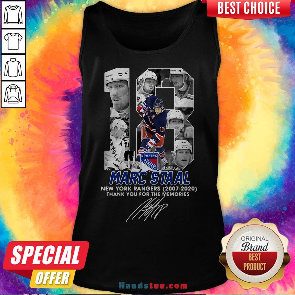 18 Marc Staal New York Rangers 2007 2020 Thank You For The Memories Signature Tank Top - Design By Handstee.com