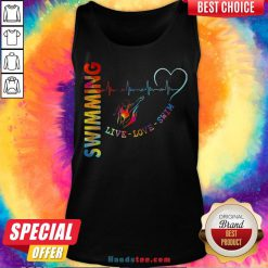 Colorful Swimming Live Love Swin Heart Beat Tank Top - Design By Handstee.com
