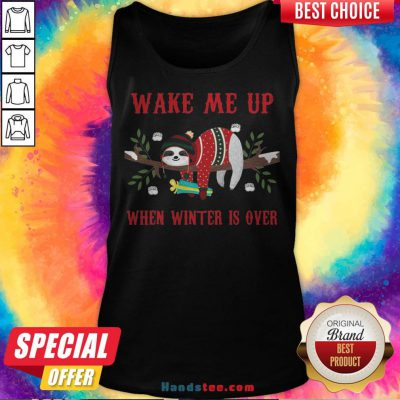 Sloth Wake Me Up When Winter Is Over Christmas Tank Top - Design By Handstee.com