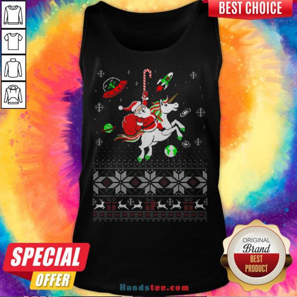 Colorful Santa Unicorn Ugly Christmas Tank Top - Design By Handstee.com