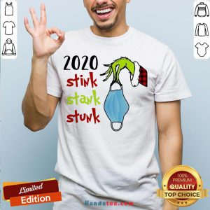 Top Grinch Hand Holding Mask 2020 Stink Stank Stunk Christmas Sweater Shirt- Design By Handstee.com