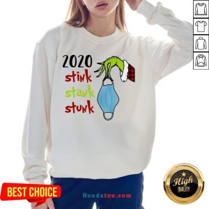 Top Grinch Hand Holding Mask 2020 Stink Stank Stunk Christmas Sweater Sweatshirt- Design By Handstee.com