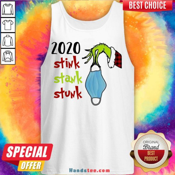 Top Grinch Hand Holding Mask 2020 Stink Stank Stunk Christmas Sweater Tank Top- Design By Handstee.com