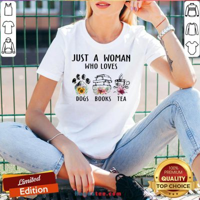 Top Just A Woman Who Loves Paw Dogs Books Tea Flowers V-neck- Design By Handstee.com