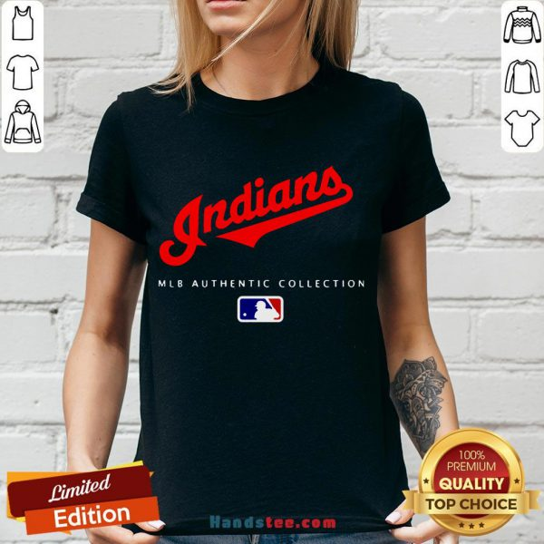 Top Mlb Authentic Collections Cleveland Indians V-neck- Design By Handstee.com