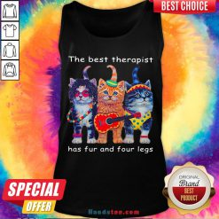 Top Three Cats Guitar The Best Therapist Has Fur And Four Legs Tank Top- Design By Handstee.com