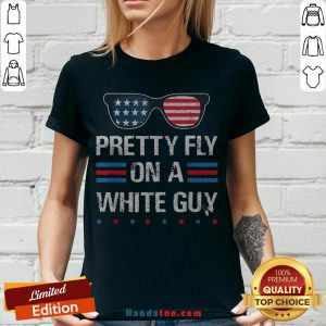 Nice Glasses Pretty Fly On A White Guy V-neck - Design By Handstee.com