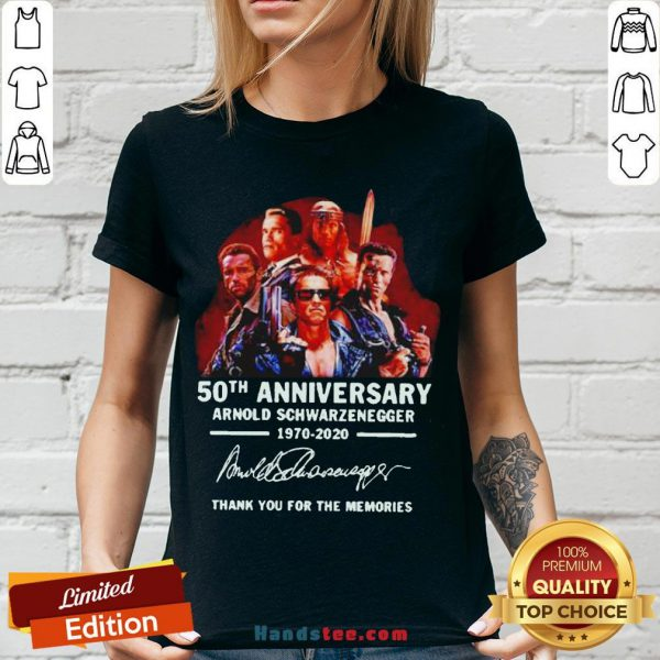 Arnold Schwarzenegger 50th Anniversary Thank You For The Memories V-neck - Design By Handstee.com